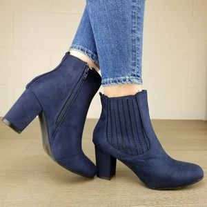 Shoes - Vegan Suede Navy Bock Heel Ankle Bootie - O